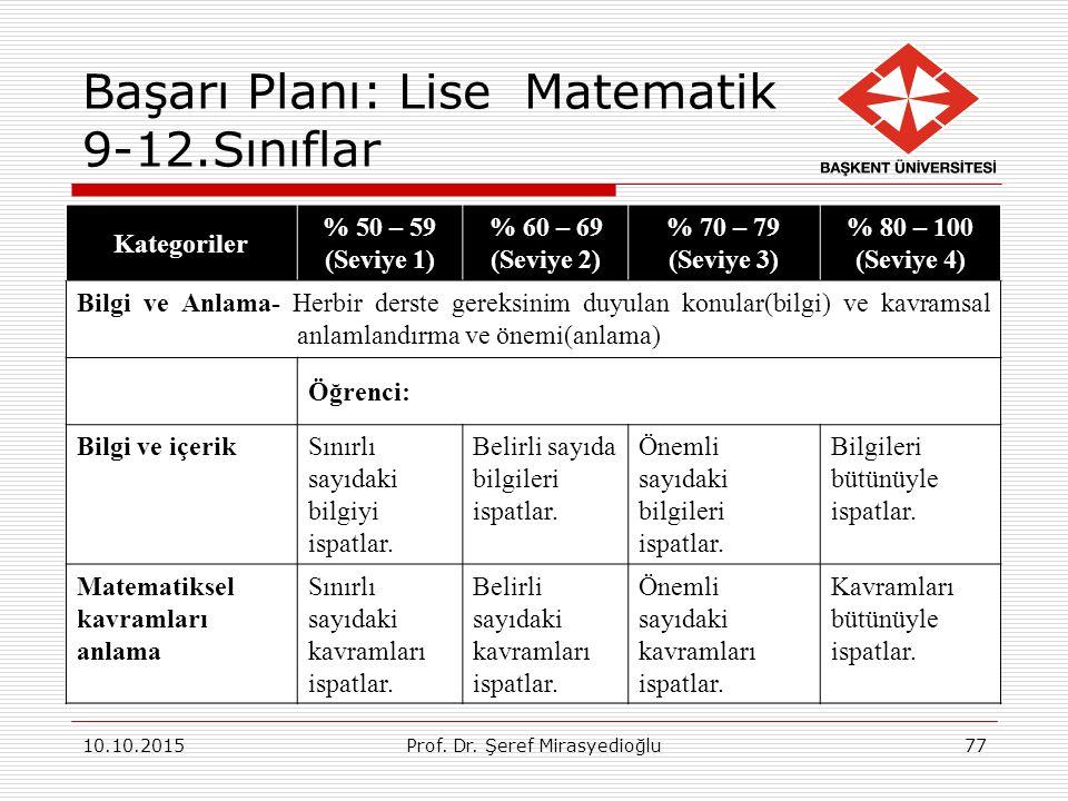 Başarı Planı: Lise Matematik 9-12.Sınıflar