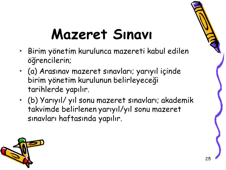 Mazeret Sınavı Birim yönetim kurulunca mazereti kabul edilen öğrencilerin;