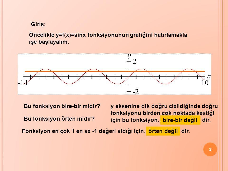 Giriş: Öncelikle y=f(x)=sinx fonksiyonunun grafiğini hatırlamakla. işe başlayalım. Bu fonksiyon bire-bir midir