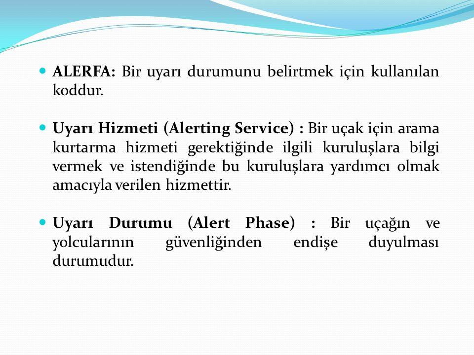 ALERFA: Bir uyarı durumunu belirtmek için kullanılan koddur.