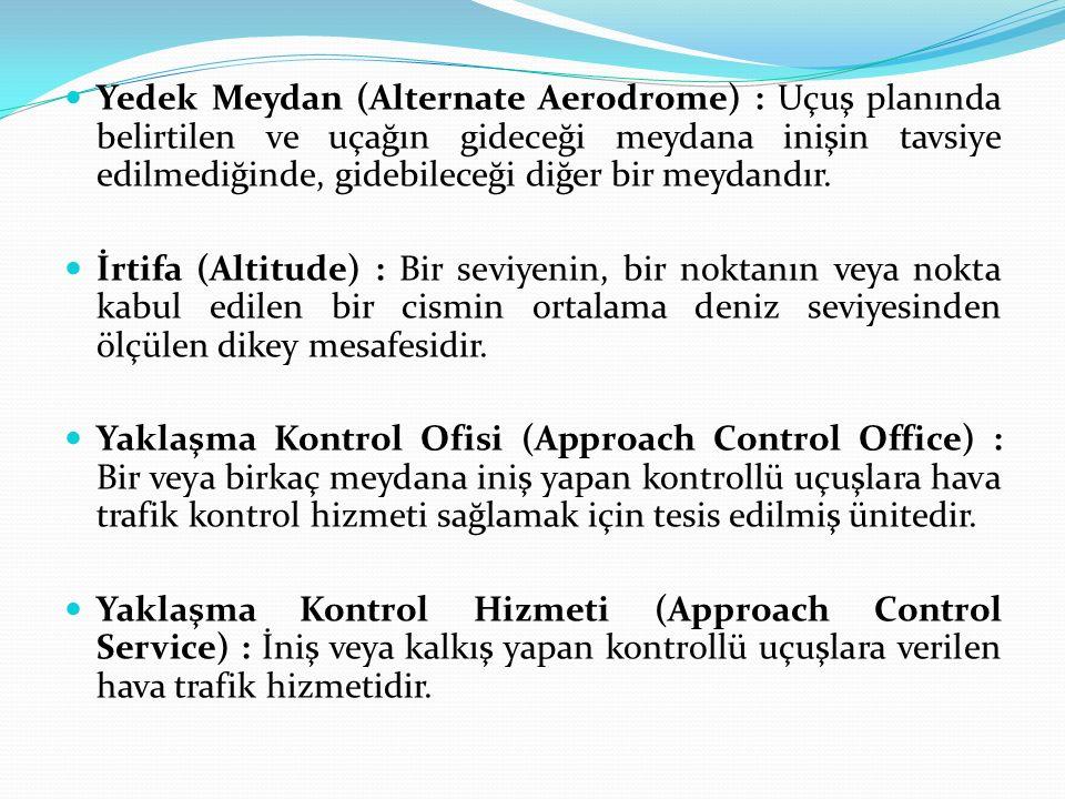 Yedek Meydan (Alternate Aerodrome) : Uçuş planında belirtilen ve uçağın gideceği meydana inişin tavsiye edilmediğinde, gidebileceği diğer bir meydandır.