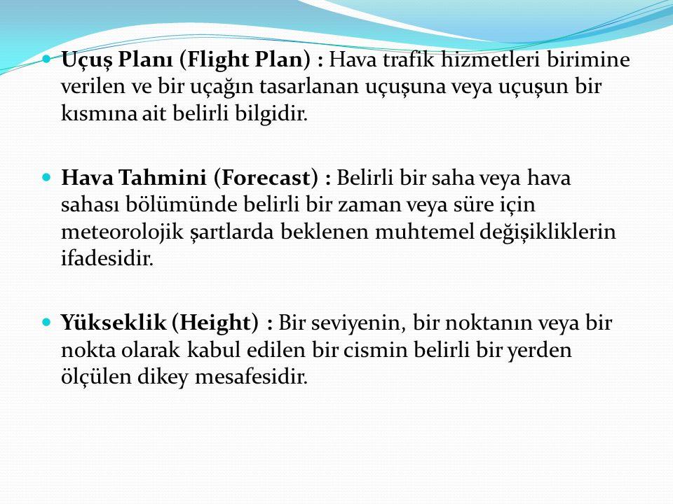 Uçuş Planı (Flight Plan) : Hava trafik hizmetleri birimine verilen ve bir uçağın tasarlanan uçuşuna veya uçuşun bir kısmına ait belirli bilgidir.