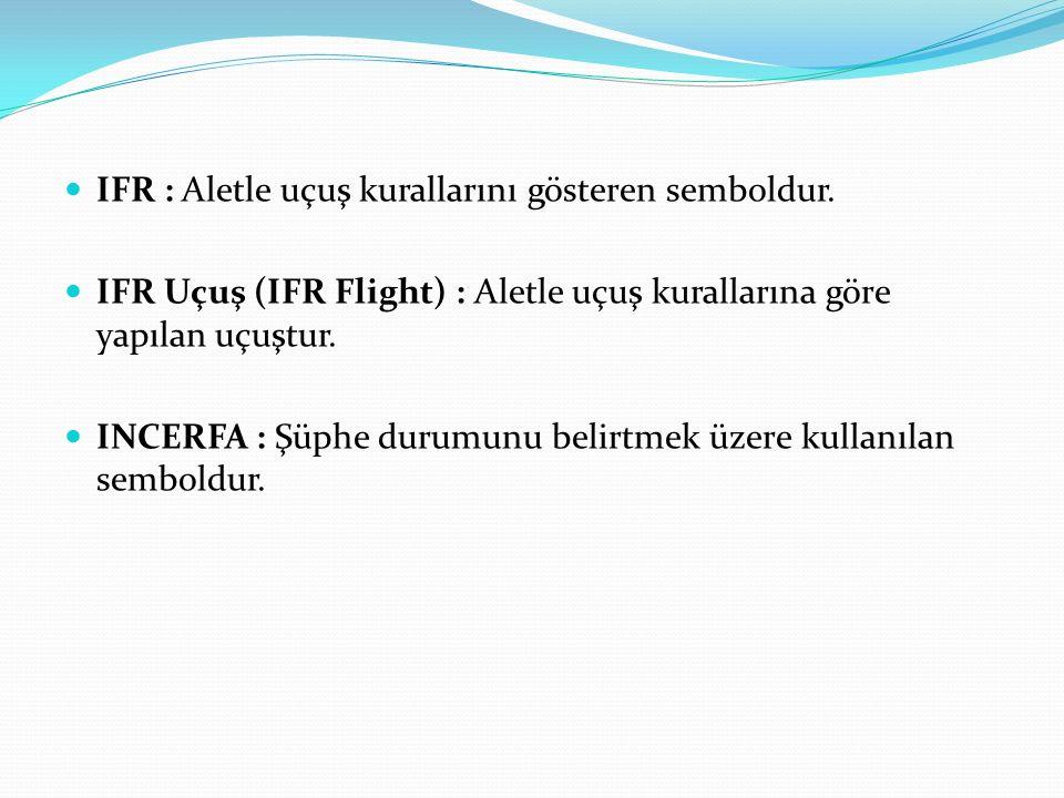IFR : Aletle uçuş kurallarını gösteren semboldur.