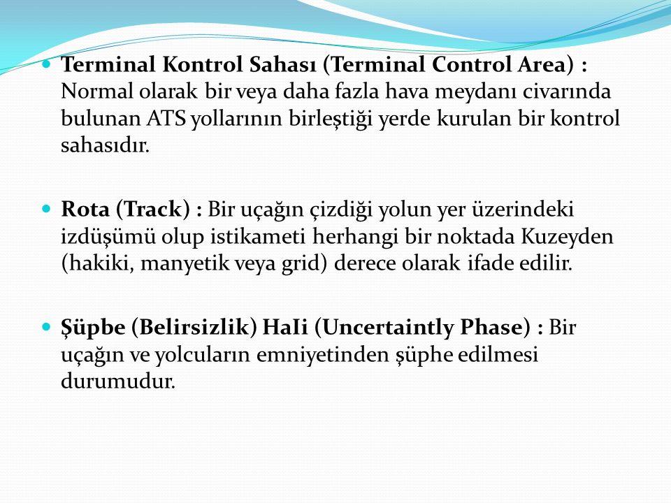 Terminal Kontrol Sahası (Terminal Control Area) : Normal olarak bir veya daha fazla hava meydanı civarında bulunan ATS yollarının birleştiği yerde kurulan bir kontrol sahasıdır.