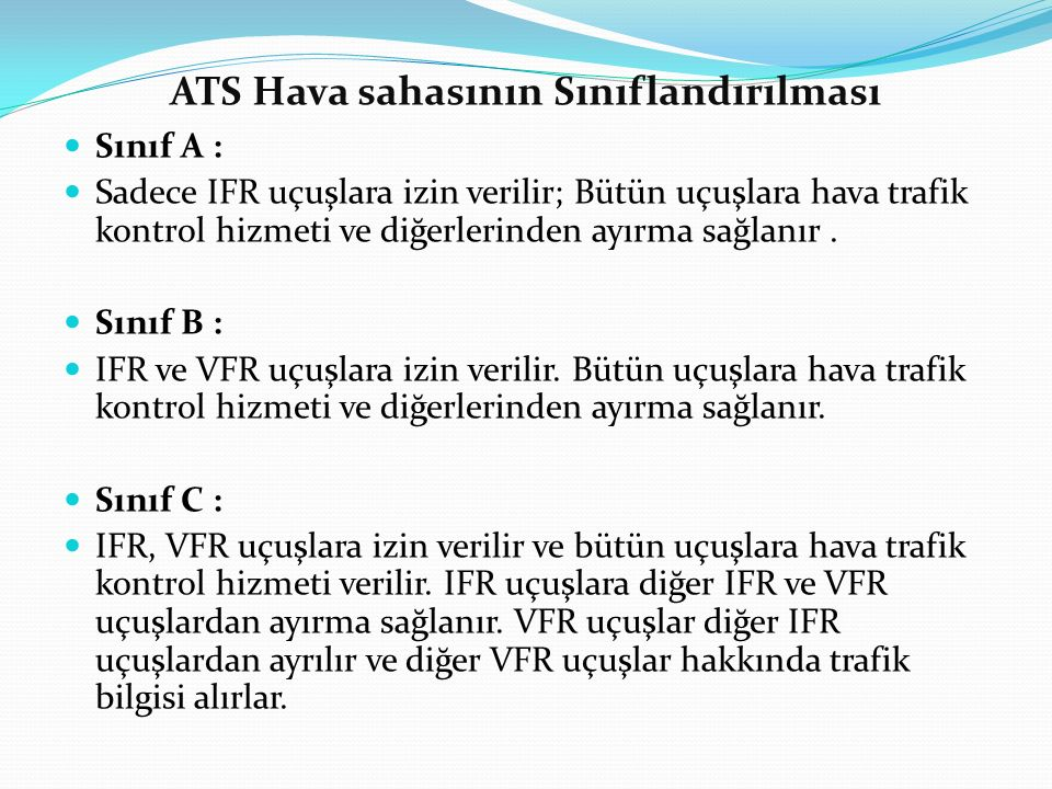ATS Hava sahasının Sınıflandırılması