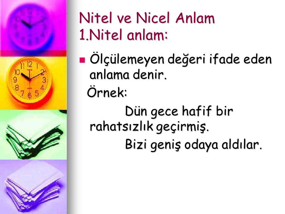 Nitel ve Nicel Anlam 1.Nitel anlam: