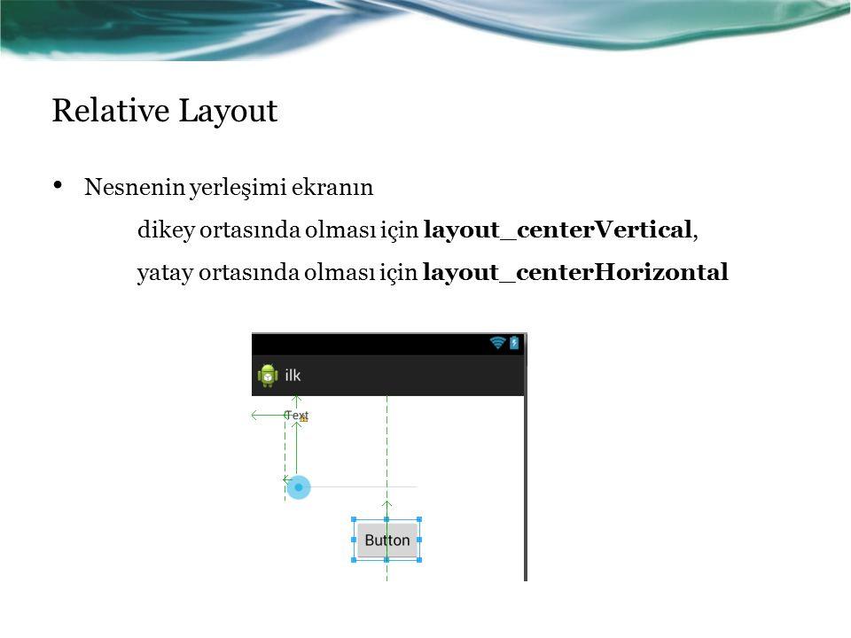 Relative Layout Nesnenin yerleşimi ekranın