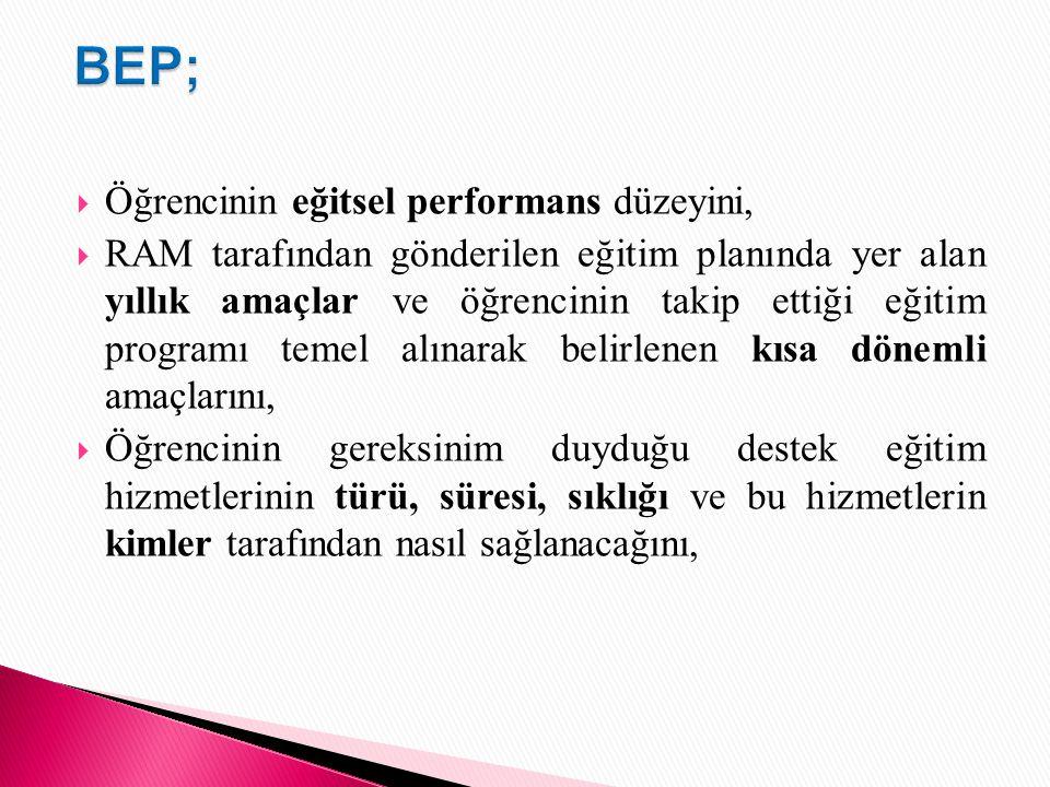 BEP; Öğrencinin eğitsel performans düzeyini,