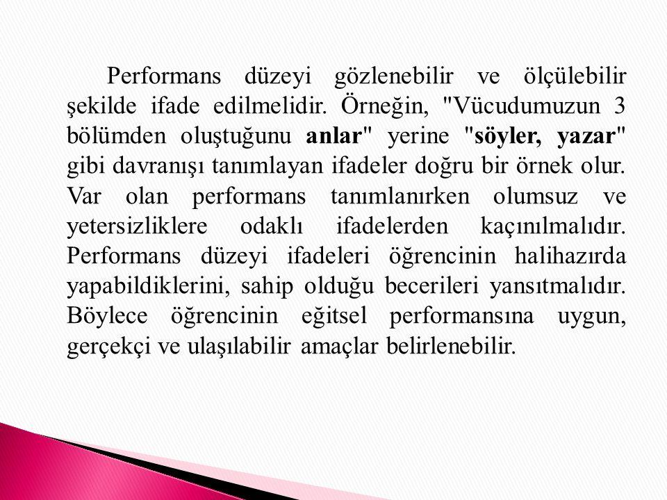 Performans düzeyi gözlenebilir ve ölçülebilir şekilde ifade edilmelidir.