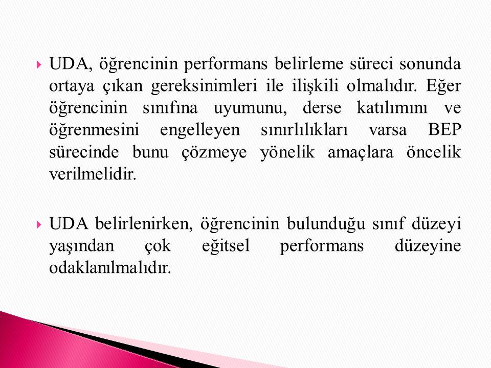 UDA, öğrencinin performans belirleme süreci sonunda ortaya çıkan gereksinimleri ile ilişkili olmalıdır. Eğer öğrencinin sınıfına uyumunu, derse katılımını ve öğrenmesini engelleyen sınırlılıkları varsa BEP sürecinde bunu çözmeye yönelik amaçlara öncelik verilmelidir.