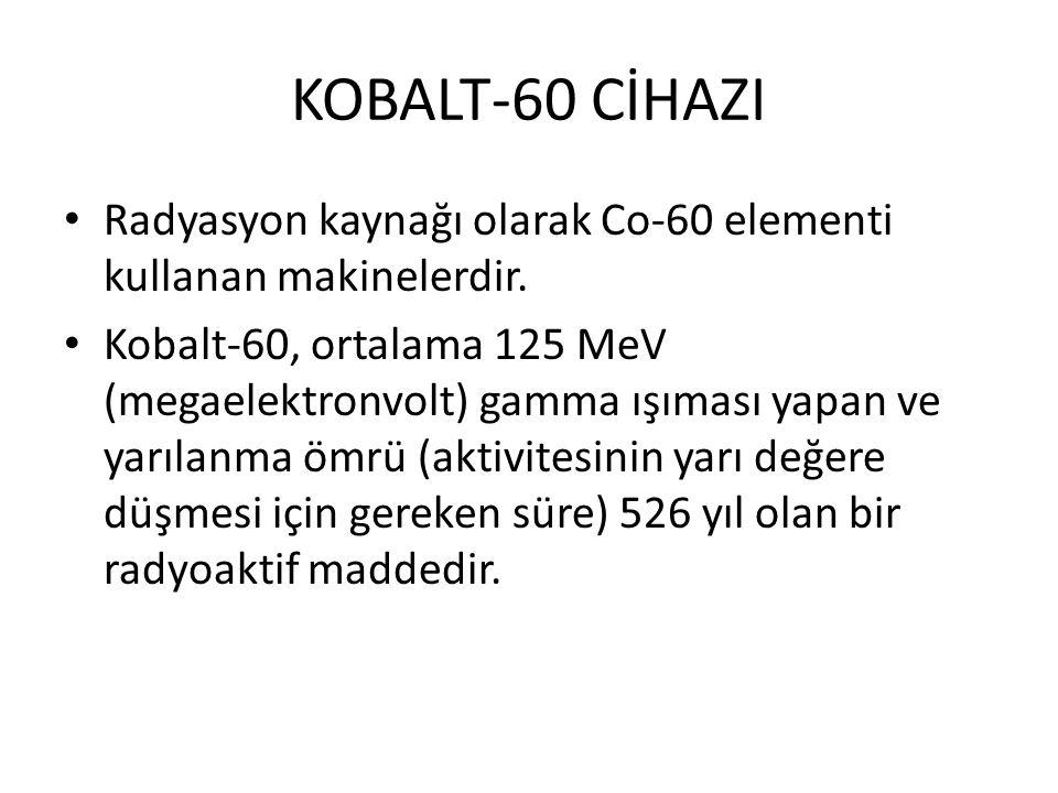 KOBALT-60 CİHAZI Radyasyon kaynağı olarak Co-60 elementi kullanan makinelerdir.