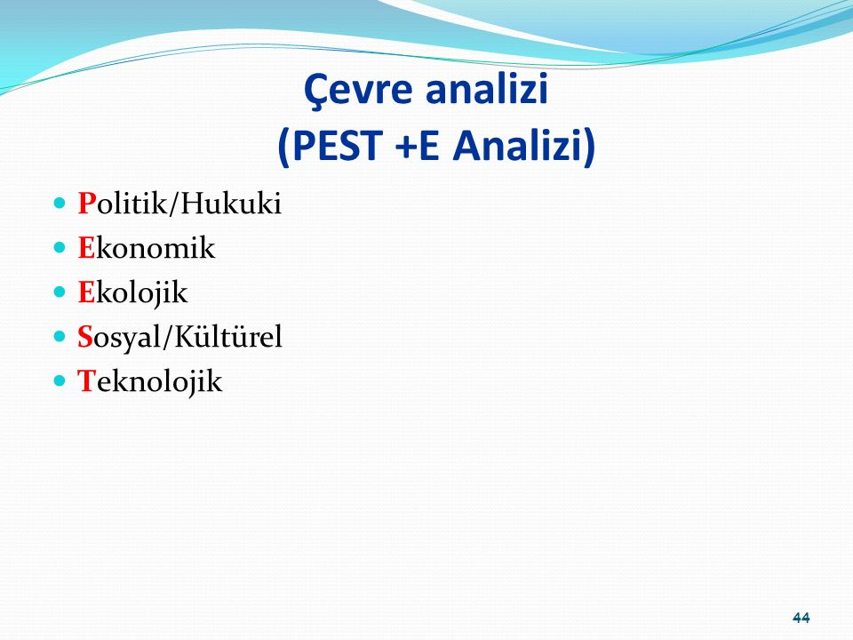 Çevre analizi (PEST +E Analizi)