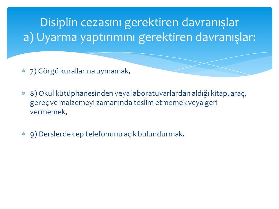 Disiplin cezasını gerektiren davranışlar a) Uyarma yaptırımını gerektiren davranışlar: