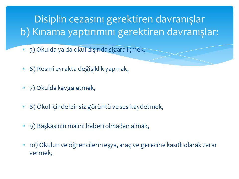 Disiplin cezasını gerektiren davranışlar b) Kınama yaptırımını gerektiren davranışlar: