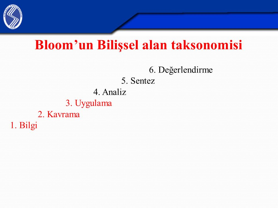 Bloom'un Bilişsel alan taksonomisi