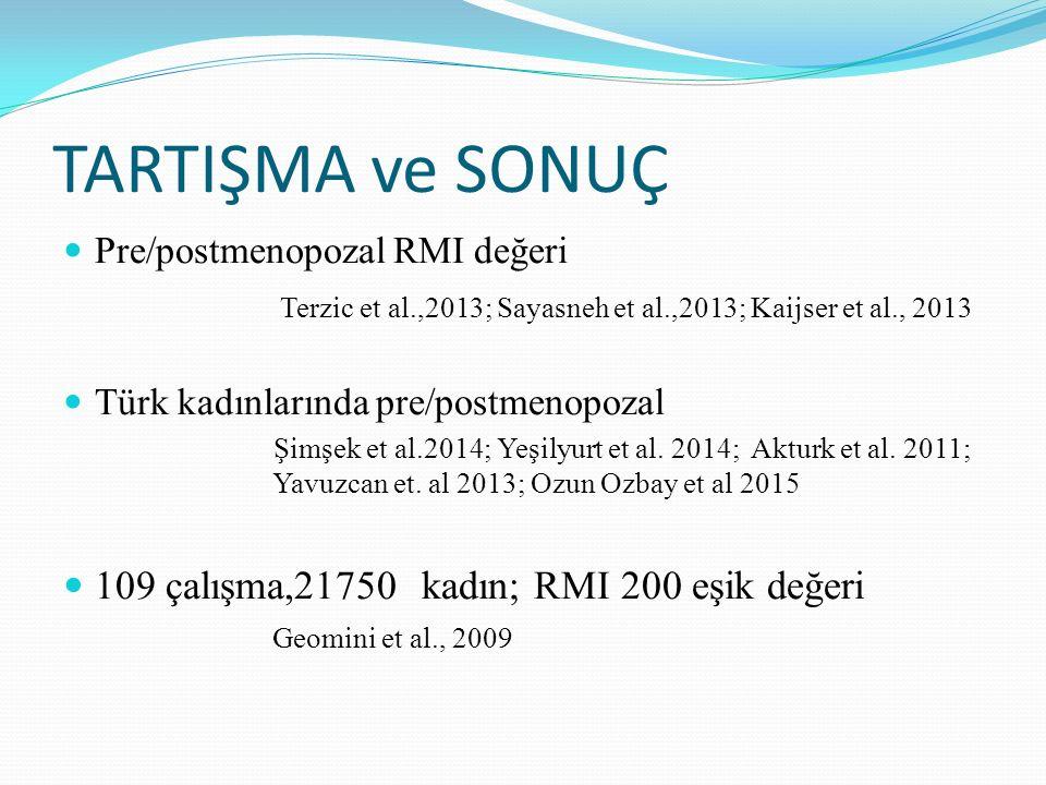 TARTIŞMA ve SONUÇ Pre/postmenopozal RMI değeri. Terzic et al.,2013; Sayasneh et al.,2013; Kaijser et al., 2013.
