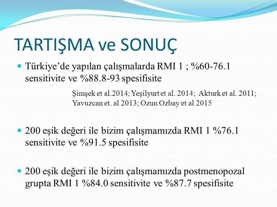 TARTIŞMA ve SONUÇ Türkiye'de yapılan çalışmalarda RMI 1 ; %60-76.1 sensitivite ve %88.8-93 spesifisite.