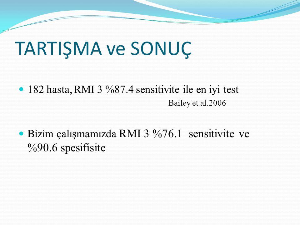 TARTIŞMA ve SONUÇ 182 hasta, RMI 3 %87.4 sensitivite ile en iyi test