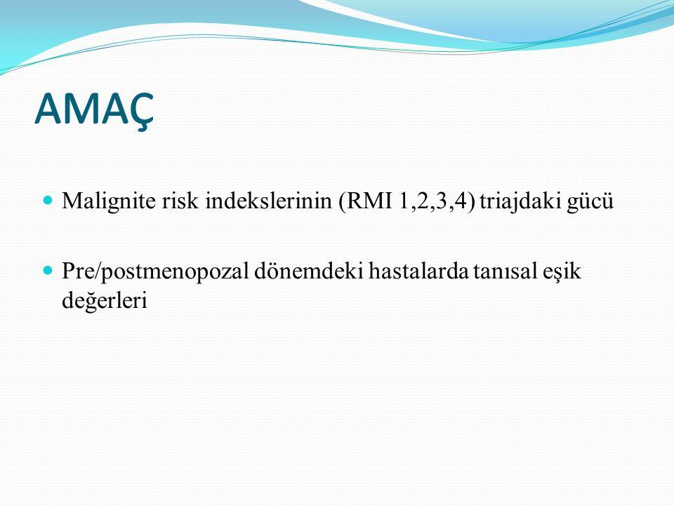 AMAÇ AMAÇ Malignite risk indekslerinin (RMI 1,2,3,4) triajdaki gücü