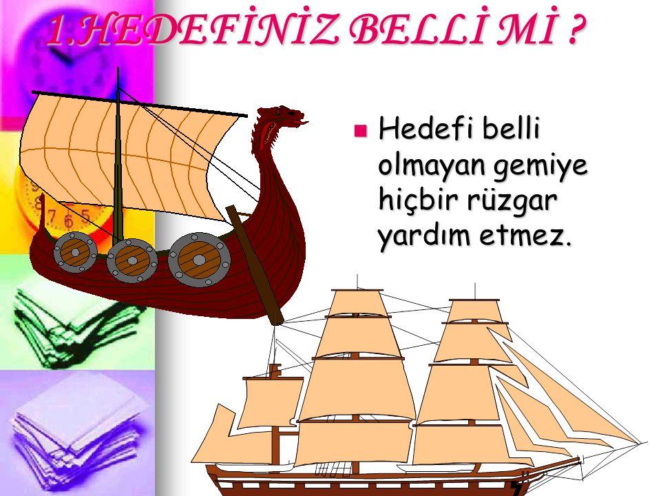 1.HEDEFİNİZ BELLİ Mİ Hedefi belli olmayan gemiye hiçbir rüzgar yardım etmez.