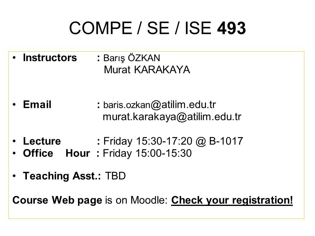 COMPE / SE / ISE 493 Instructors : Barış ÖZKAN Murat KARAKAYA