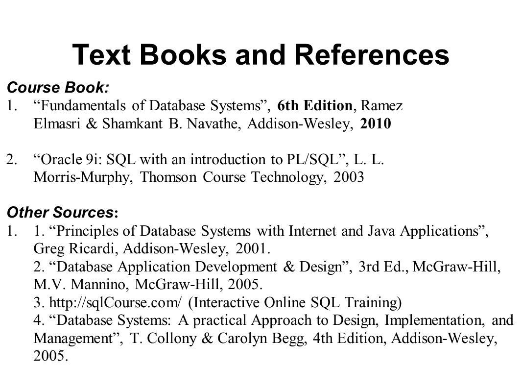 Text Books and References
