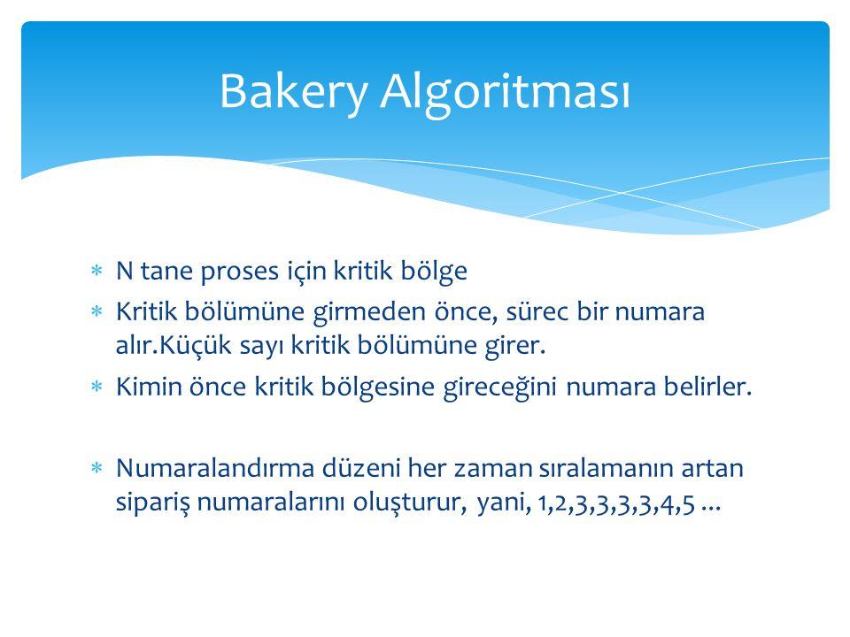 Bakery Algoritması N tane proses için kritik bölge