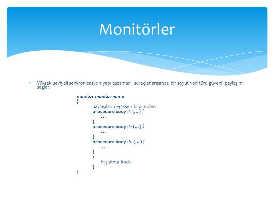 Monitörler Yüksek seviyeli senkronizasyon yapı eşzamanlı süreçler arasında bir soyut veri türü güvenli paylaşımı sağlar.