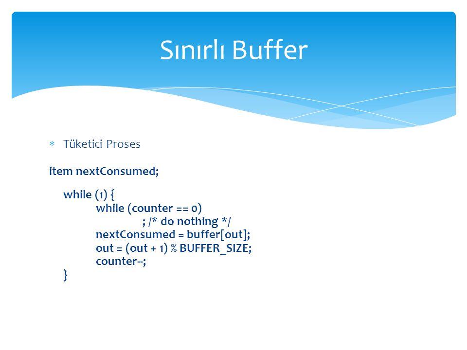 Sınırlı Buffer Tüketici Proses item nextConsumed; while (1) {