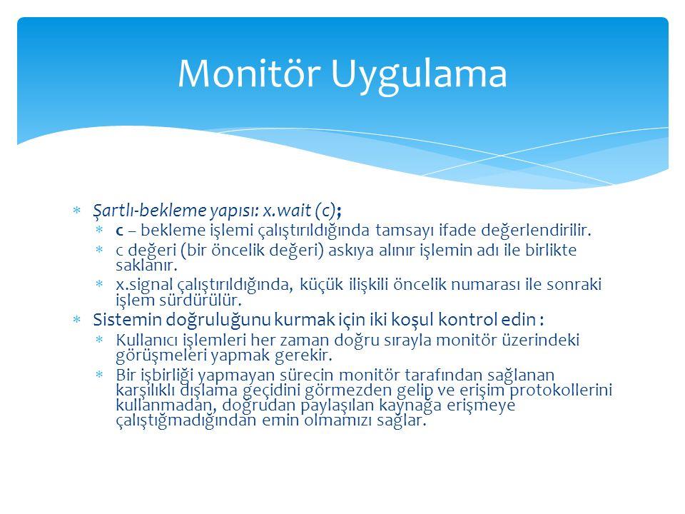 Monitör Uygulama Şartlı-bekleme yapısı: x.wait (c);