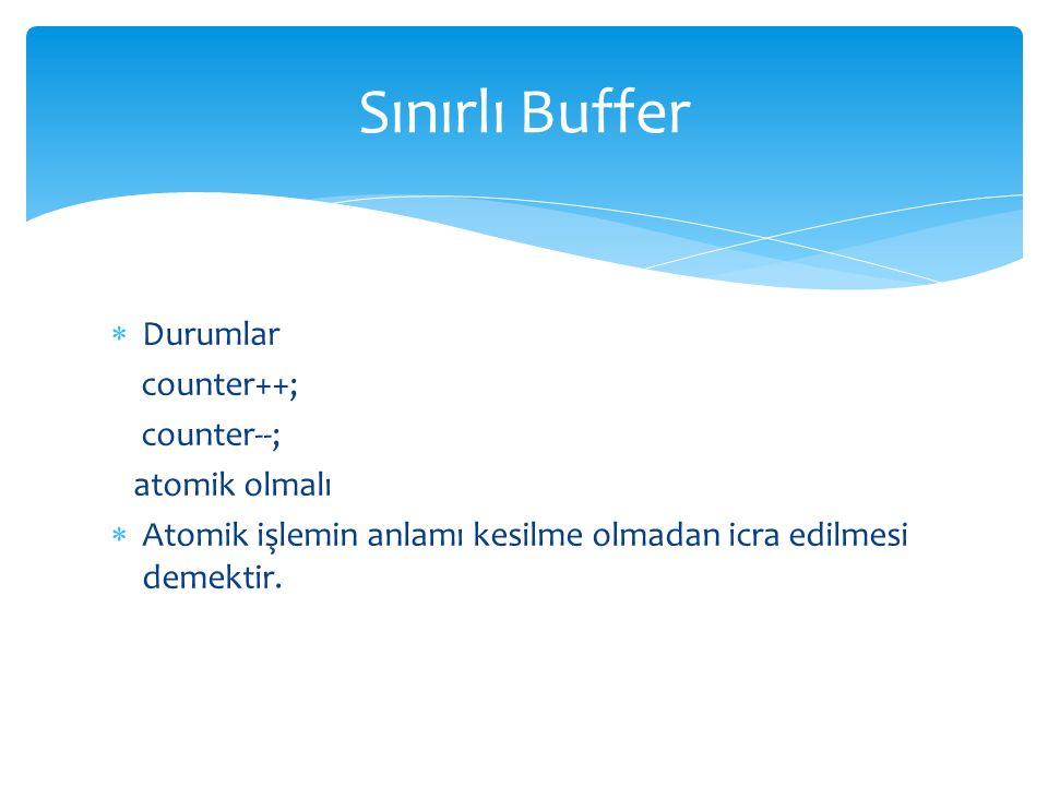 Sınırlı Buffer Durumlar counter++; counter--; atomik olmalı