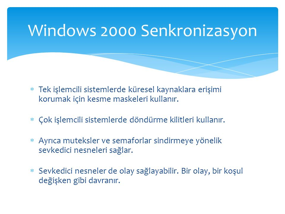 Windows 2000 Senkronizasyon