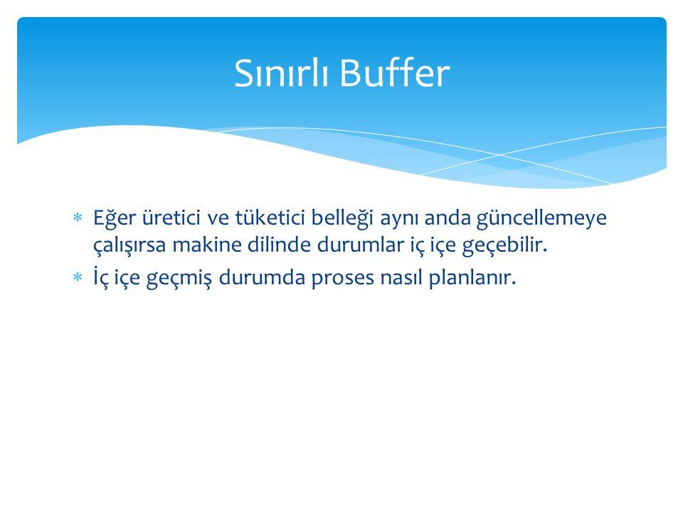 Sınırlı Buffer Eğer üretici ve tüketici belleği aynı anda güncellemeye çalışırsa makine dilinde durumlar iç içe geçebilir.