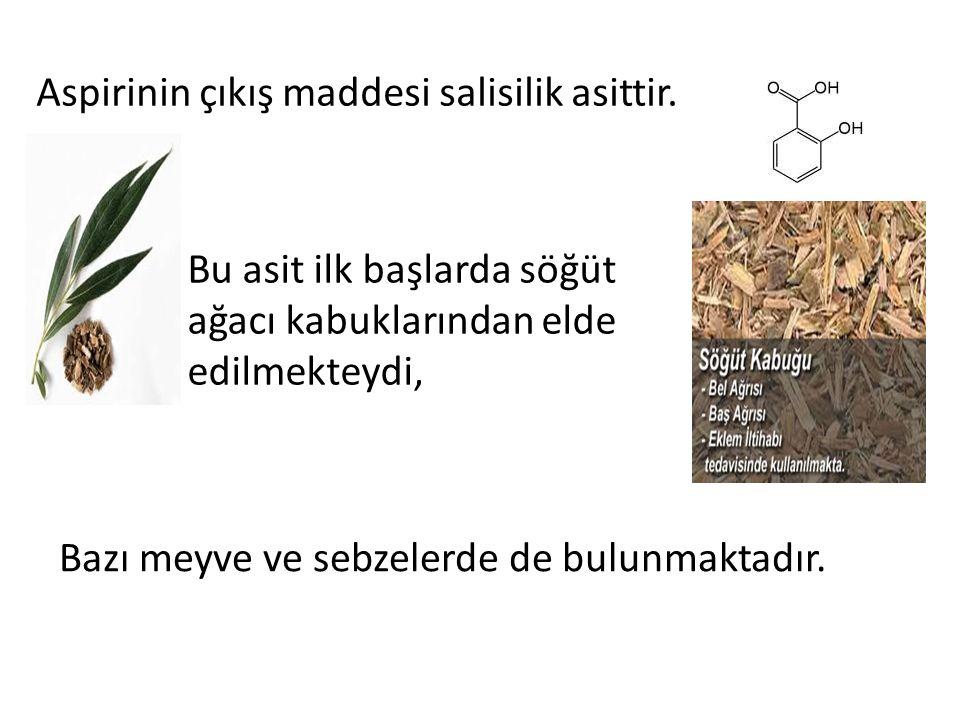 Aspirinin çıkış maddesi salisilik asittir.
