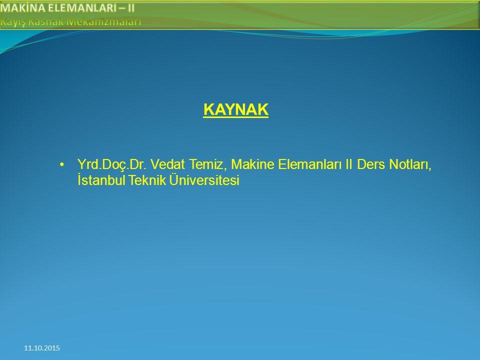 KAYNAK Yrd.Doç.Dr. Vedat Temiz, Makine Elemanları II Ders Notları, İstanbul Teknik Üniversitesi.