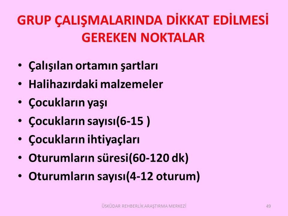 GRUP ÇALIŞMALARINDA DİKKAT EDİLMESİ GEREKEN NOKTALAR