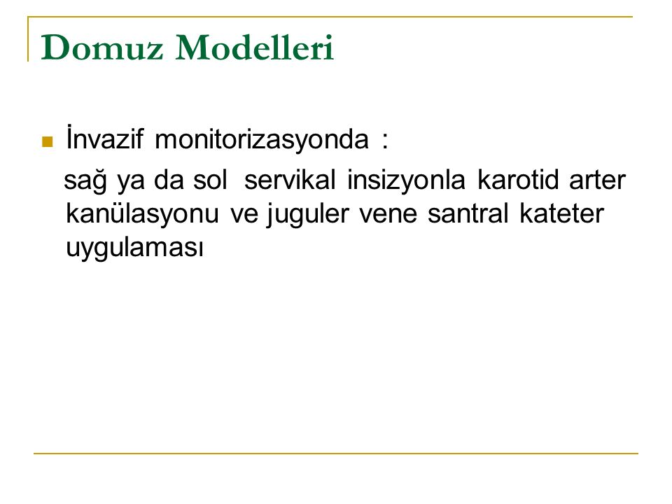 Domuz Modelleri İnvazif monitorizasyonda :