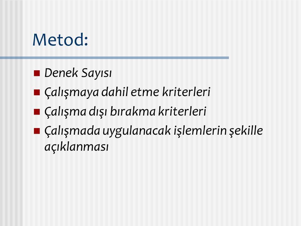 Metod: Denek Sayısı Çalışmaya dahil etme kriterleri