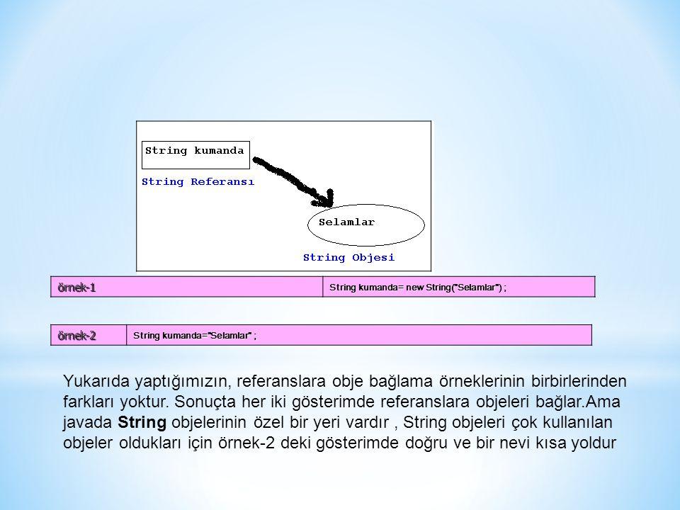 örnek-1 String kumanda= new String( Selamlar ) ; örnek-2. String kumanda= Selamlar ;