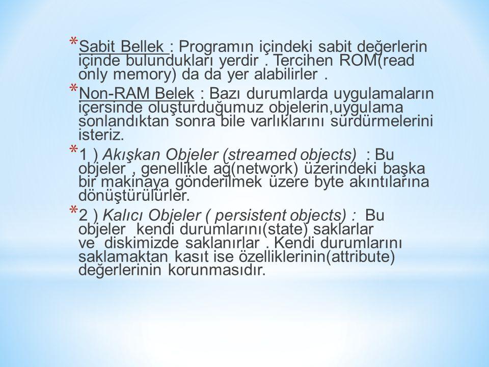 Sabit Bellek : Programın içindeki sabit değerlerin içinde bulundukları yerdir . Tercihen ROM(read only memory) da da yer alabilirler .