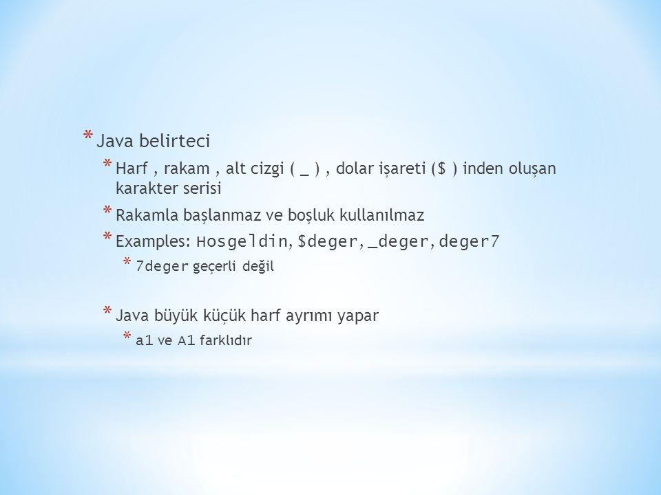Java belirteci Harf , rakam , alt cizgi ( _ ) , dolar işareti ($ ) inden oluşan karakter serisi. Rakamla başlanmaz ve boşluk kullanılmaz.