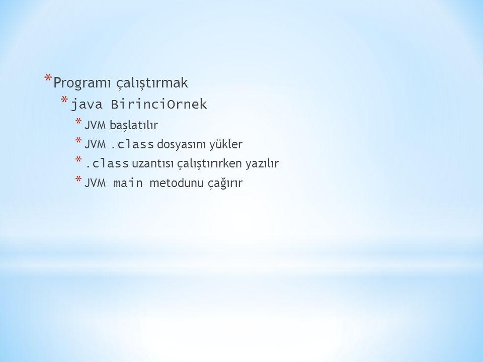 Programı çalıştırmak java BirinciOrnek JVM başlatılır