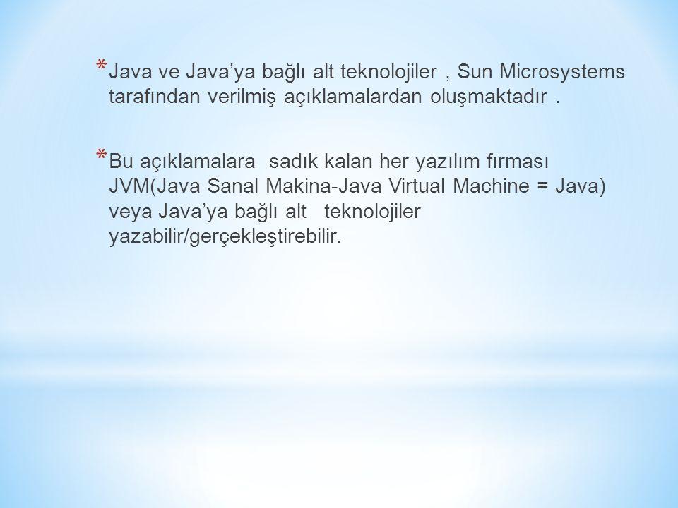 Java ve Java'ya bağlı alt teknolojiler , Sun Microsystems tarafından verilmiş açıklamalardan oluşmaktadır .