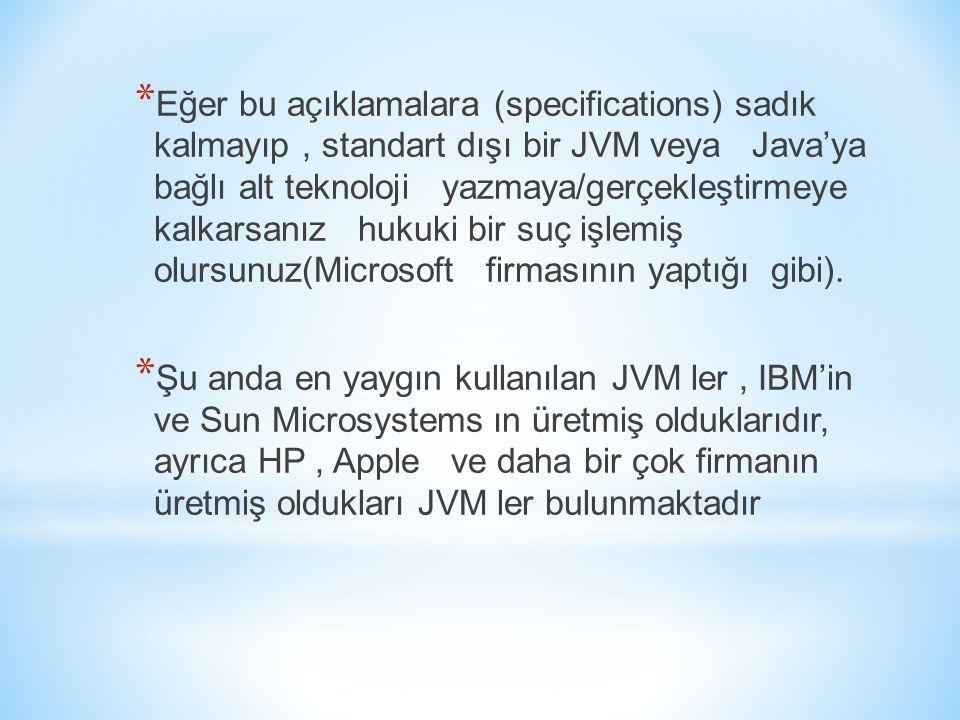 Eğer bu açıklamalara (specifications) sadık kalmayıp , standart dışı bir JVM veya Java'ya bağlı alt teknoloji yazmaya/gerçekleştirmeye kalkarsanız hukuki bir suç işlemiş olursunuz(Microsoft firmasının yaptığı gibi).