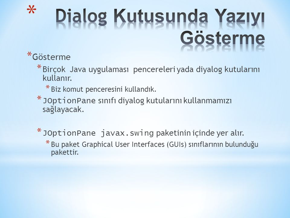 Dialog Kutusunda Yazıyı Gösterme