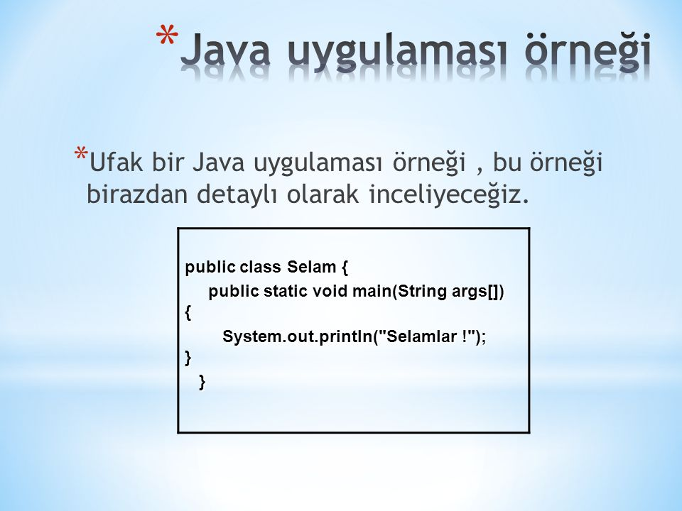 Java uygulaması örneği