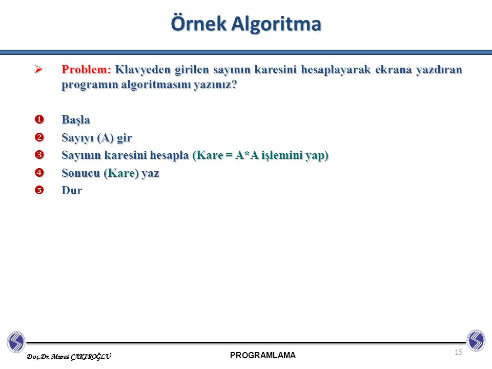 Örnek Algoritma Problem: Klavyeden girilen sayının karesini hesaplayarak ekrana yazdıran programın algoritmasını yazınız