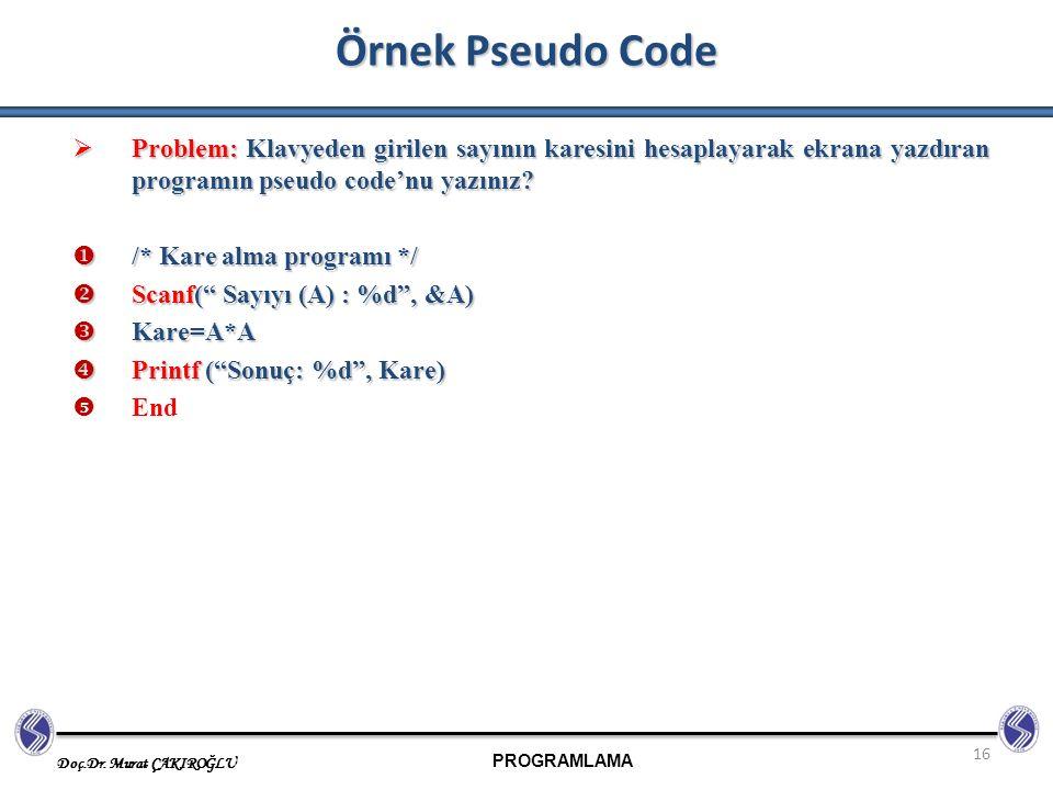 Örnek Pseudo Code Problem: Klavyeden girilen sayının karesini hesaplayarak ekrana yazdıran programın pseudo code'nu yazınız