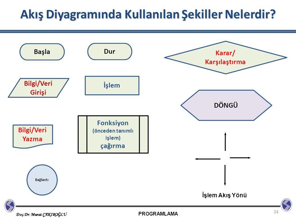 Akış Diyagramında Kullanılan Şekiller Nelerdir
