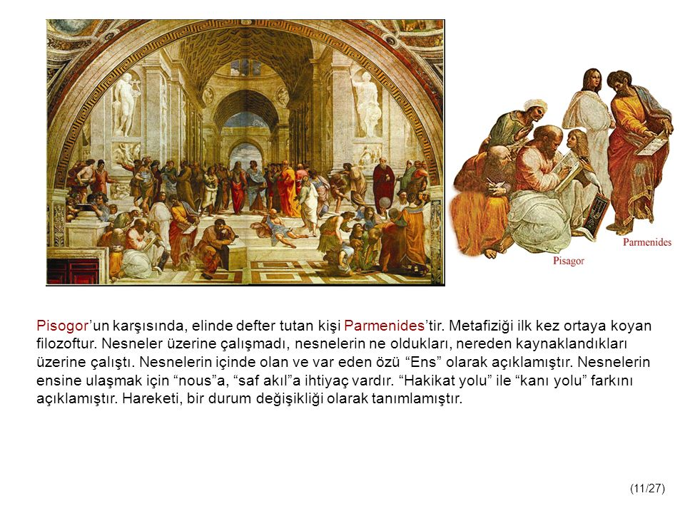 Pisogor'un karşısında, elinde defter tutan kişi Parmenides'tir